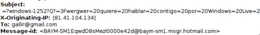 IP mensaje amenaza